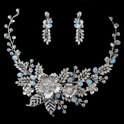 Rhodium Floral Bridal Wedding Jewelry Set with Rhinestones Opal Crystals