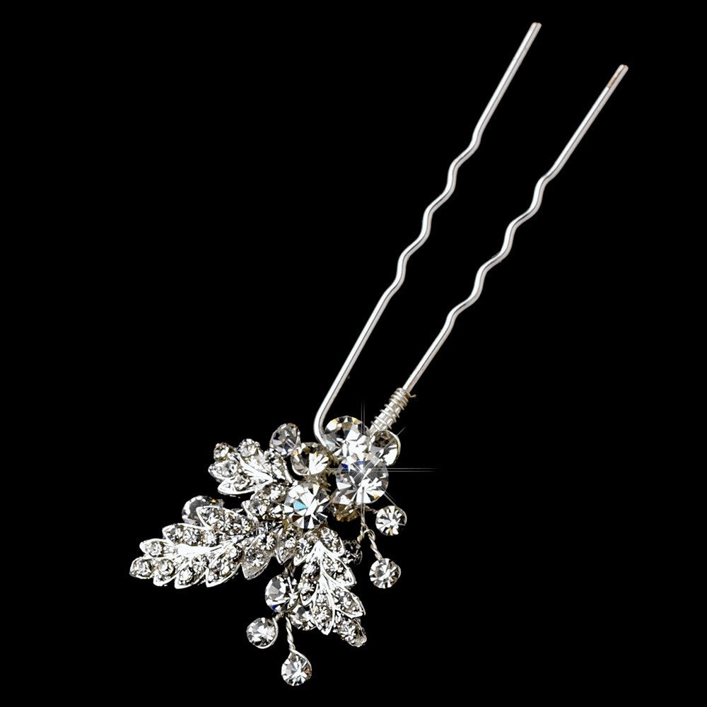 Beautiful Sparkling Rhinestone Vine Bridal Wedding Hair Pin 121 Silver