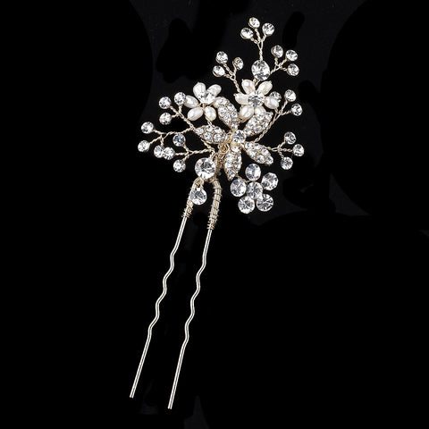 Light Gold Clear Rhinestone & Freshwater Pearl Flower Bridal Wedding Hair Pin 125