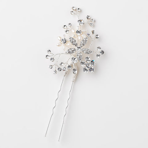 Silver Clear Rhinestone & Freshwater Pearl Flower Bridal Wedding Hair Pin 125
