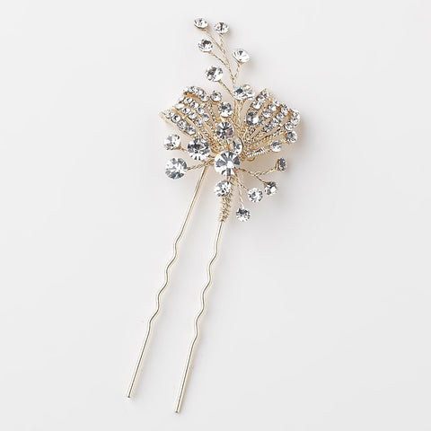 Light Gold Clear Rhinestone Bridal Wedding Hair Pin 126