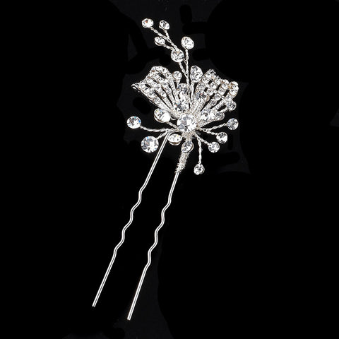 Silver Clear Rhinestone Bridal Wedding Hair Pin 126
