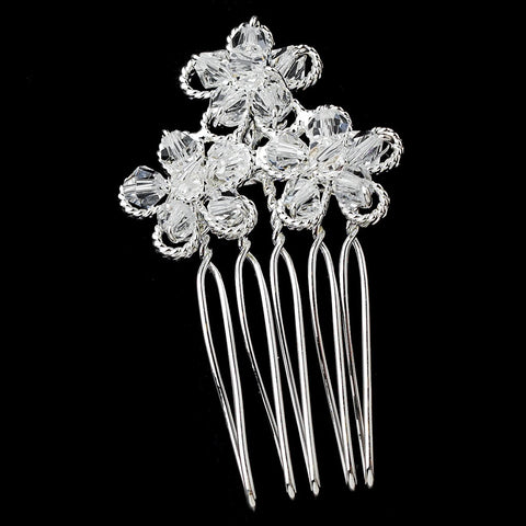 Silver Clear Swarovski Crystal Bridal Wedding Hair Comb Pin 1589