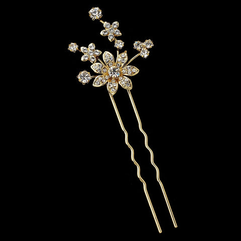 * Gold Clear Rhinestone Bridal Wedding Hair Pin 1742