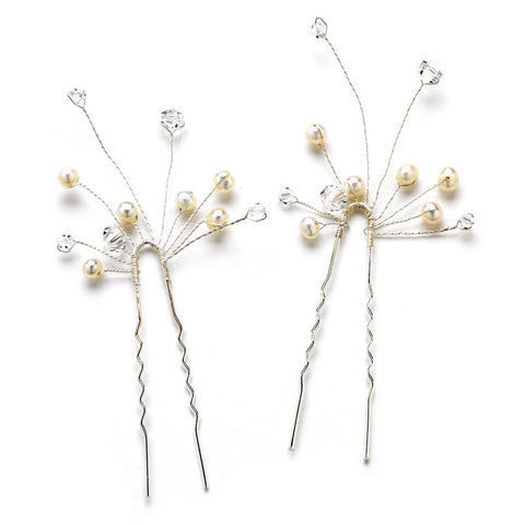 * Pearl & Crystal Bridal Wedding Hair Pin 30