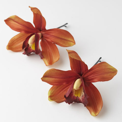 * Red Dancing Orchid Flower Pin 907 (Set of 2)