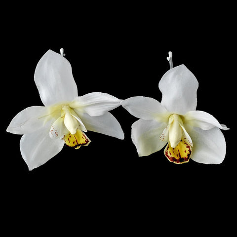 Elegant Delicate White Orchid Flower Bridal Wedding Hair Clip - Pin 907 White