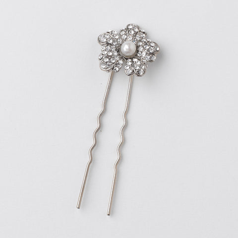 Rhodium Diamond White Pearl & Rhinestone Flower Bridal Wedding Hair Pin 47