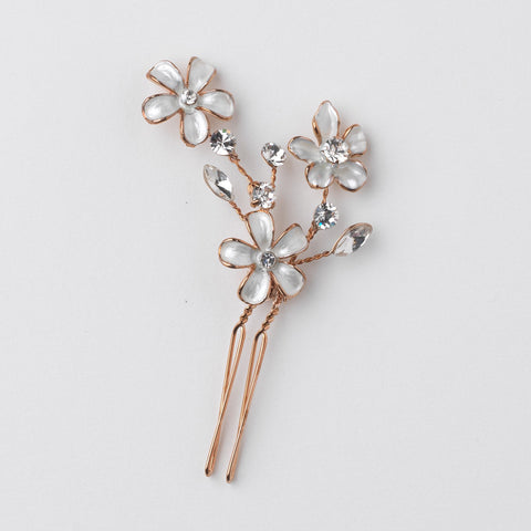 Bridal Wedding White Enamel Flower Rose Gold Hair Pin 5135