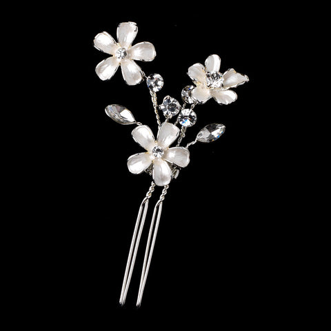 Bridal Wedding White Enamel Flower Silver Hair Pin 5135