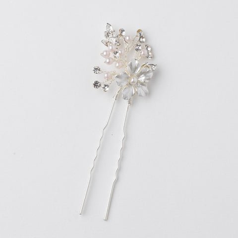 Silver Ivory Pearl & Rhinestone Flower Bridal Wedding Hair Pin 80