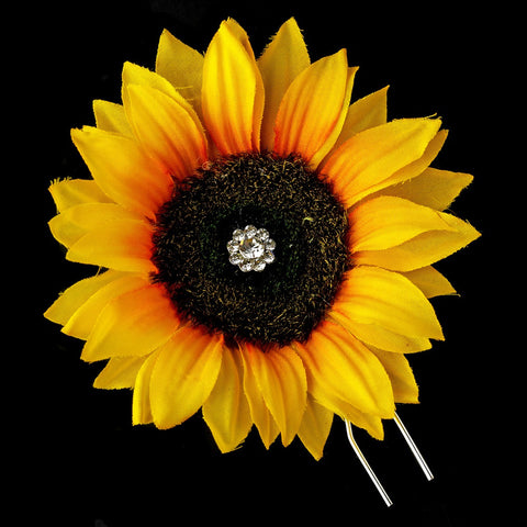 Sunflower Bridal Wedding Hair Pin with Rhinestone Accents