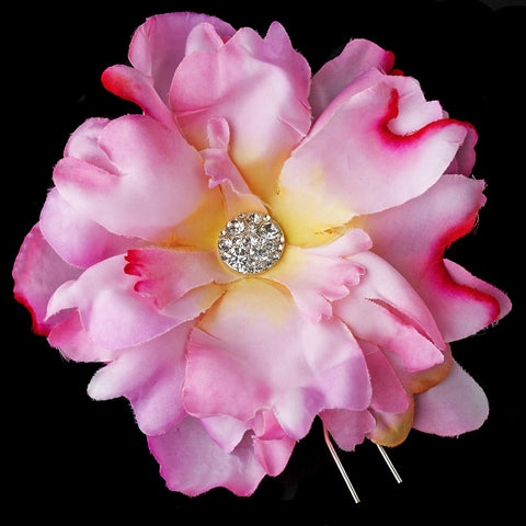 Pink Flower Bridal Wedding Hair Pin with Rhinestone & Pearl Accents