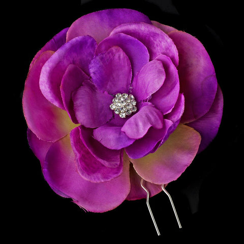 Purple Flower Bridal Wedding Hair Pin with Rhinestone & Pearl Accents
