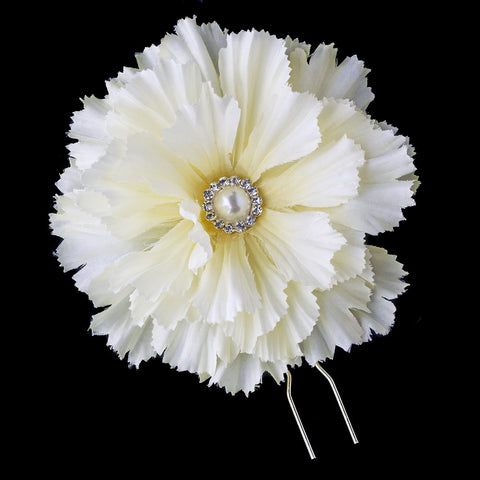 Ivory Flower Bridal Wedding Hair Pin with Rhinestone & Pearl Accents