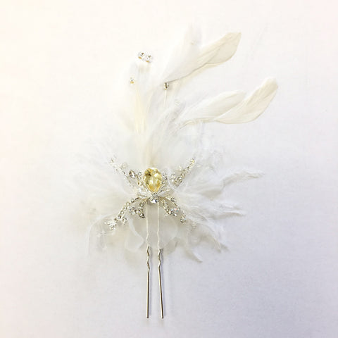 Silver Clear Feather Bridal Wedding Hair Pin Fascinator with Rhinestones & Swarovski Crystal Beads