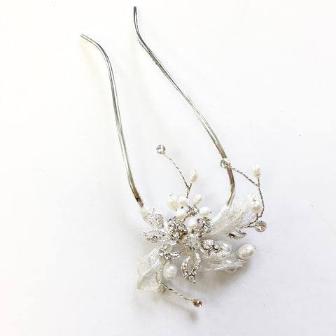 Silver Clear Bridal Wedding Hair Pin with Rhinestones & Freshwater Pearls