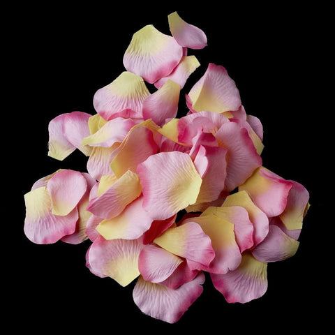 100 Pink Yellow Artificial Bridal Wedding & Formal Silk Rose Petals