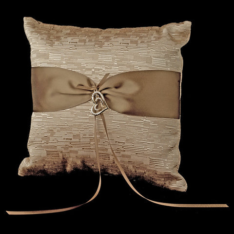 Brown Ribbon & Gold Heart Bridal Wedding Ring Pillow 722