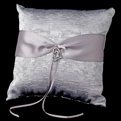 Silver Ribbon & Silver Heart Bridal Wedding Ring Pillow 722