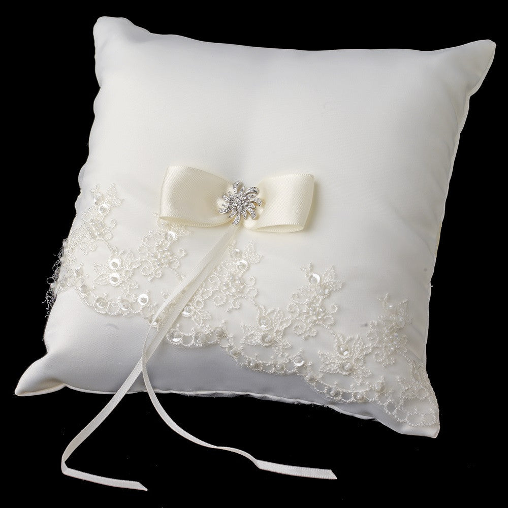 Beaded Lace Bridal Wedding Ring Pillow 767