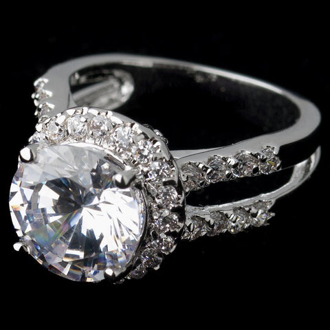 Rhodium Clear Round CZ Halo Bridal Wedding Ring 5392