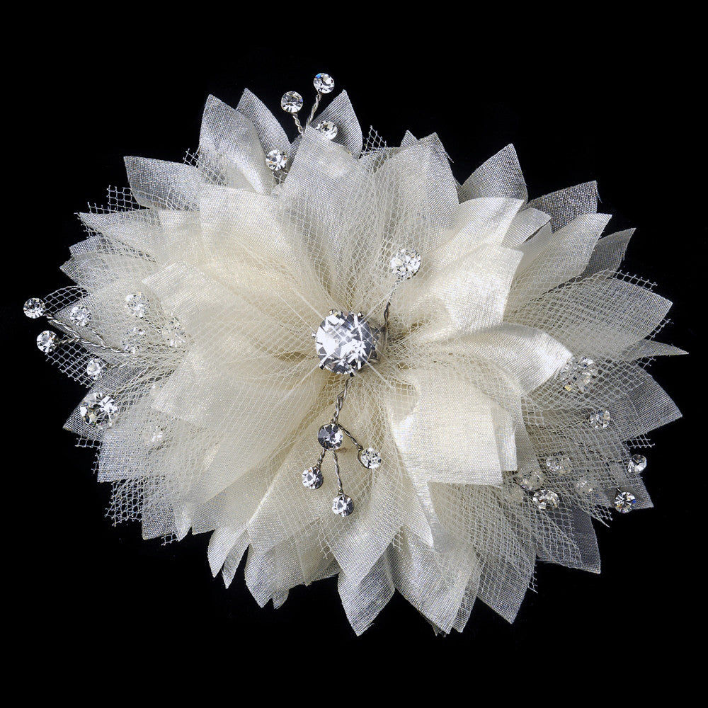 Champagne Tulle & Sheer Organza Flower Bridal Wedding Hair Clip