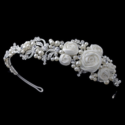 Silver Diamond White Rose Bridal Wedding Side Headband