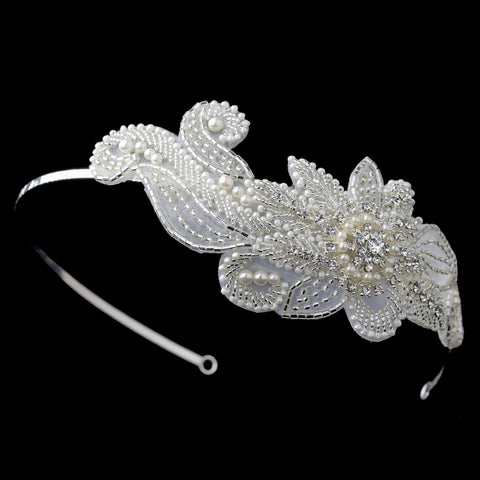 Silver Diamond White Sheer Organza Floral Swirl Bridal Wedding Side Headband