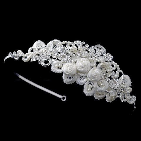 Silver Diamond White Floral Rose Satin Lace Bridal Wedding Side Headband