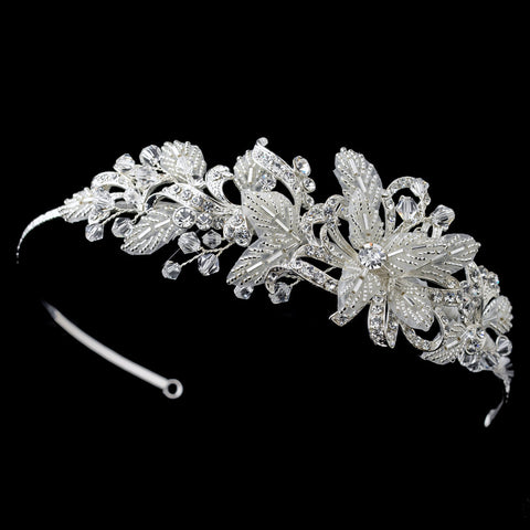 Silver Diamond White Floral Baroque Swirl Sheer Mesh Bridal Wedding Side Headband