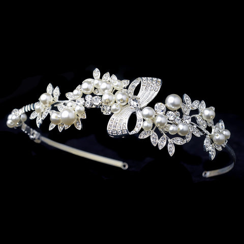 Silver Rhinestone Ribbon Design Bridal Wedding Side Headband with Ivory Pearls