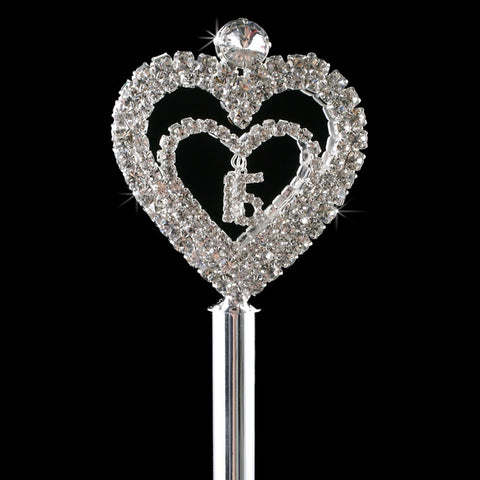 Sweet 15/16 Rhinestone Covered Heart Scepter 207