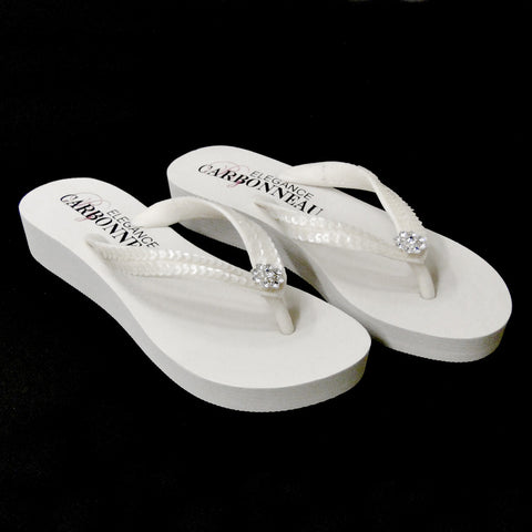 Summer ~ Low Heel Ivory Wedge Bridal Wedding Flip Flops with Sequins & Swarovski Crystals
