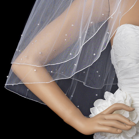 Double Layer Elbow Length Bridal Wedding Veil with Scattered Rhinestone & Pearl Accents (White or Ivory) 002