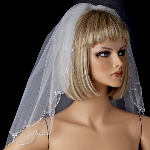 Child's & Bridal Wedding Double Layer Scalloped Pencil Edge Bridal Wedding Veil with Pearls 007