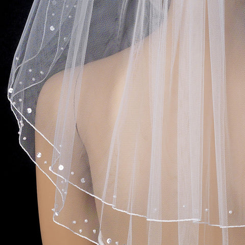 Bridal Wedding Child's Double Layer Flower girl Bridal Wedding Veil 010 w/ Scattered Pearls & Sequins