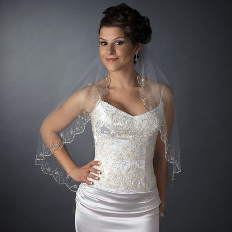 Single Layer Elbow/Fingertip Length Scalloped Pencil Edge Bridal Wedding Veil 101