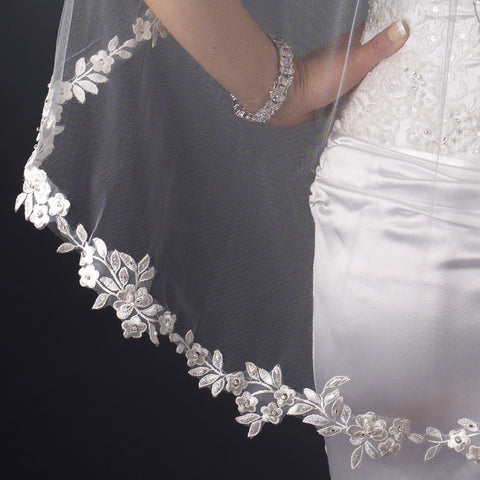 Single Layer Fingertip Length Embroidered Floral Flowers Leaves with Pearls Bridal Wedding Veil 1042 1F