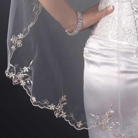 Single Layer Fingertip Length Scalloped Floral Embroidered Edge with Bugle Beads & Sequins Bridal Wedding Veil 1046 1F