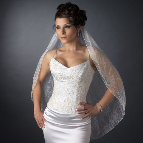 Single Layer Fingertip Length Embroidered Lace Bridal Wedding Veil 1048 1F