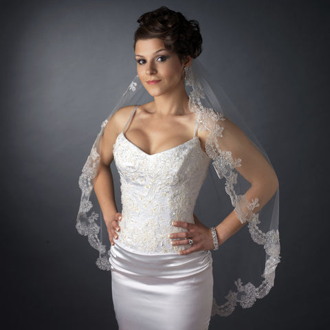 Single Layer Fingertip Length Scalloped Floral Embroidered Edge with Bugle Beads & Sequins Bridal Wedding Veil 1049 1F
