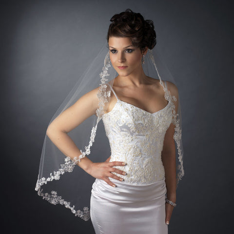 Single Layer Fingertip Length Scalloped Floral Embroidered Edge with Pearls & Bugle Beads Bridal Wedding Veil 1050 1F