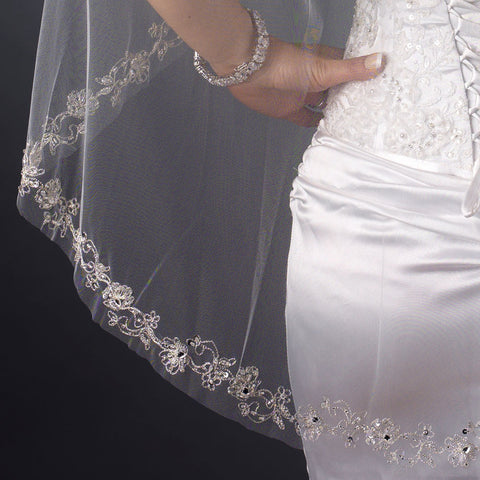 Single Layer Fingertip Length Embroidered Floral Bugle Beaded Edge Bridal Wedding Veil 1051 1F