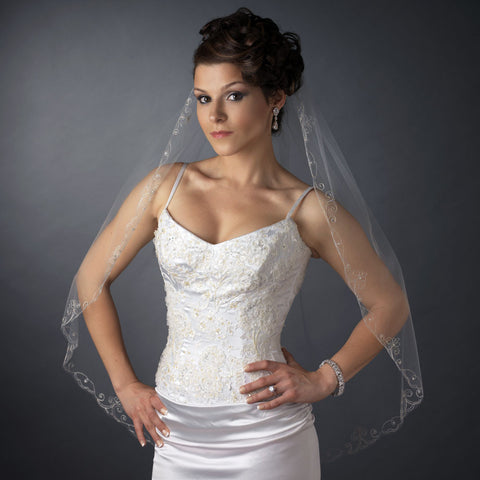 Single Layer Fingertip Length Swirl Edge with Rhinestones Bridal Wedding Veil 1052 1F