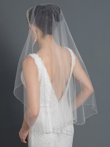 Bridal Wedding Ivory Single Layer Fingertip Veil With Beading V 1053 1F