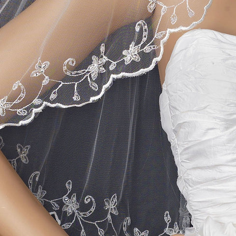 Single Layer Elbow Length Bridal Wedding Veil with Floral Edge of Embroidery & Sequencing 1086
