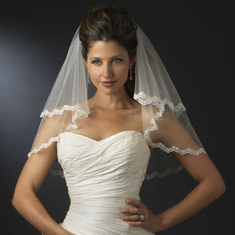 Scalloped Floral Embroidered Lace Edge Bridal Wedding Veil 112