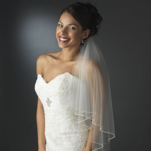 Glistening Faux Pearl & Bugle Bead Edge Bridal Wedding Veil