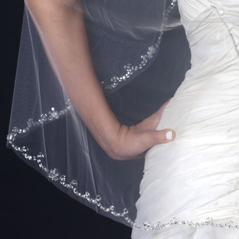 Single Layer Fingertip Length Bridal Wedding Veil with Rhinestone Beaded Cut Edge V 1131 1F